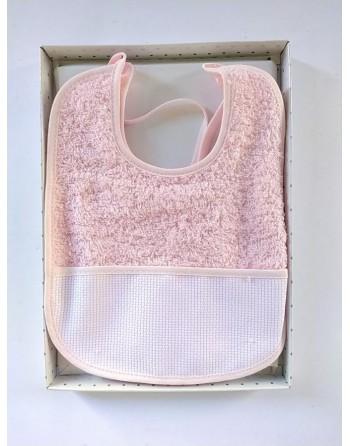 Set lenzuola carrozzino cotone da ricamare rosa