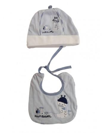 Coordinato cotone cappello e bavetta neonato prima nascita