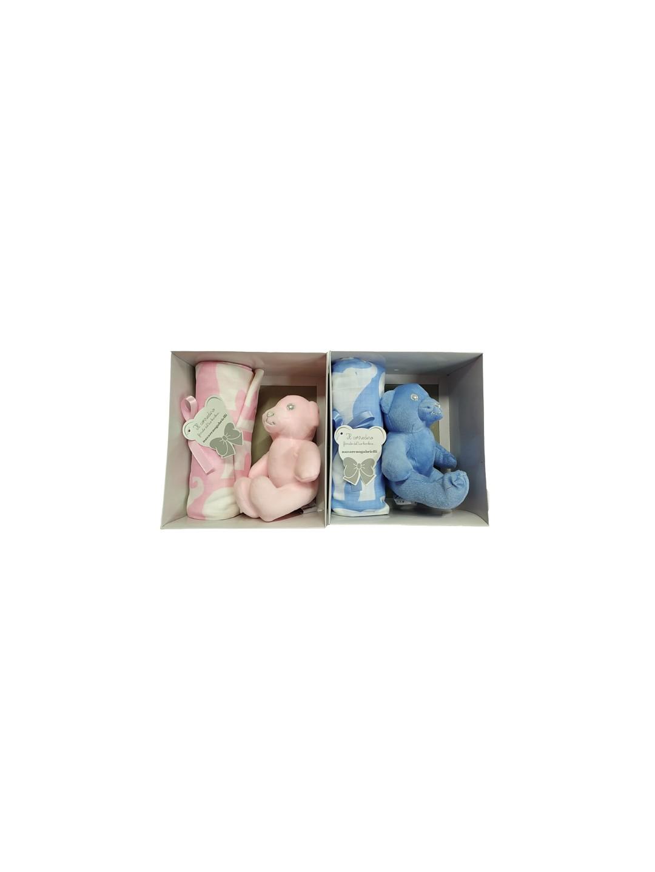 Set regalo copertina con pupazzo in cotone carrozzina