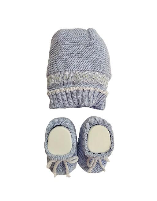 Coordinato cappello con babbucce 0-3 mesi cotone