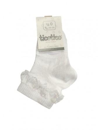 Calzini con merletto corti cotone neonata dal 15 al 22 taglia piede