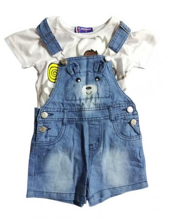 Salopetta jeans con maglia in cotone da 1 a 5 anni
