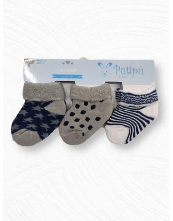 Tris calzini in cotone da 0 a 12 mesi