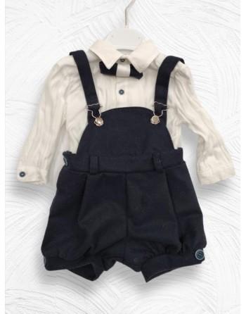 Completo neonato invernale con camicia in cotone e pantalone velluto