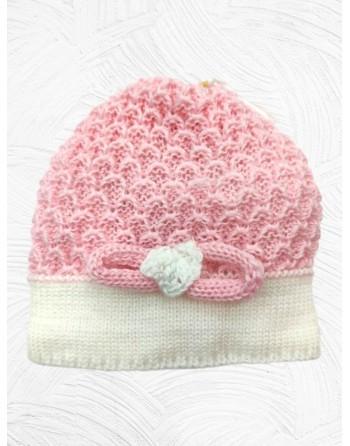 Cappello artigianale lana merinos 0-3 mesi