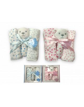 Set regalo 2 quadrati in garza e un giochino per neonato