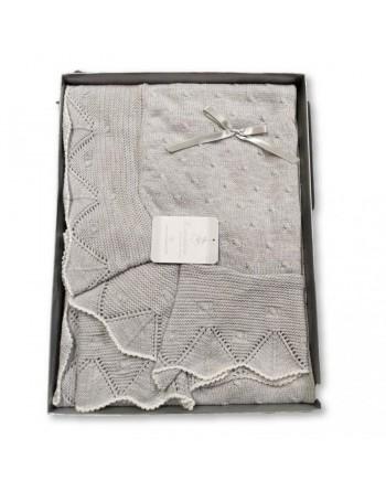 Copertina scialle in filo cotone neonato