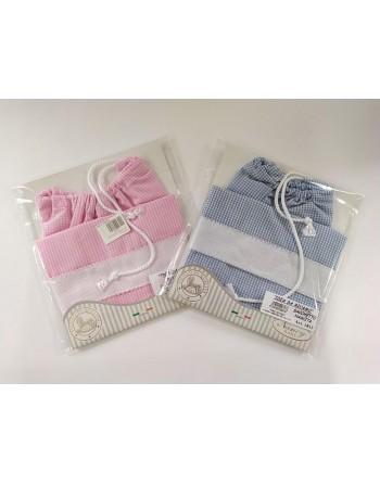 Sacchetto nascita neonato cotone con tela aida per ricamare