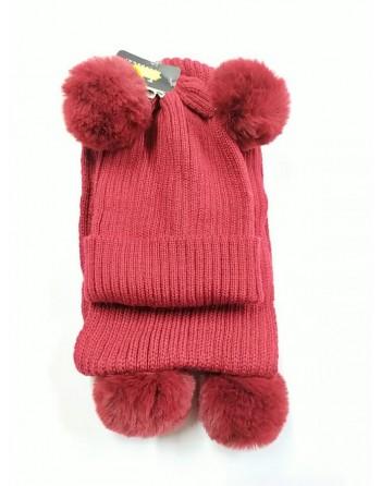 Cappello bon bon con sciarpa invernale 2-5 anni