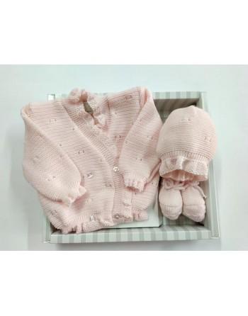 Coordinato giacchino cappello babbucce lana 0-3 mesi