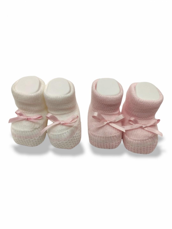 Babbucce lana neonato 0-3 mesi rosa e panna