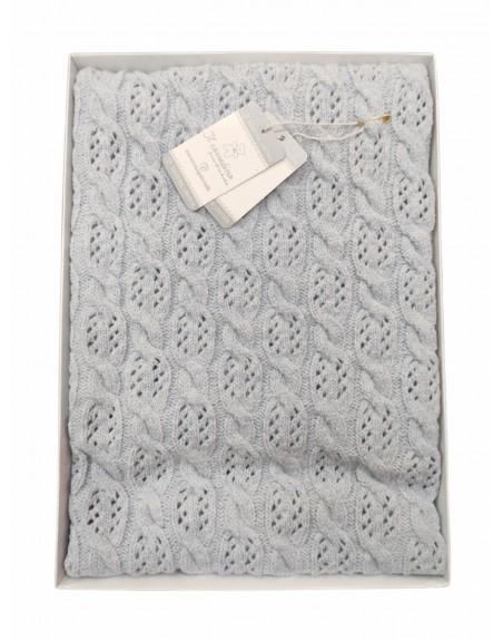 Scialle lana neonato copertina smacchinata in mano lana