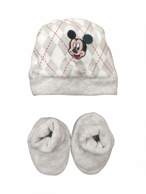 Set cappellino e babbucce in ciniglia topolino 0-3 mesi
