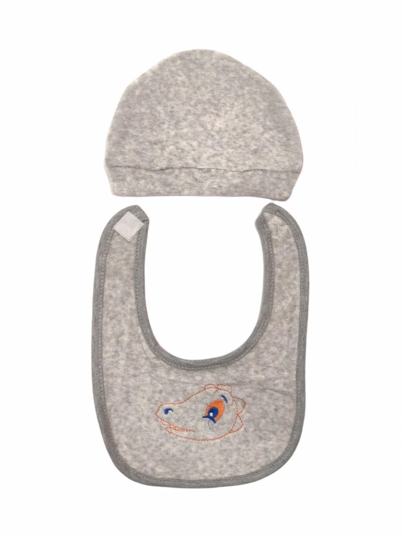 Cappello con bavaglino in ciniglia taglia unica 0-3 mesi