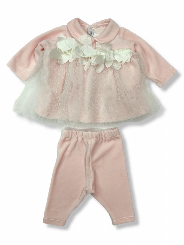 Vestina in ciniglia neonata elegante 1-3 mesi