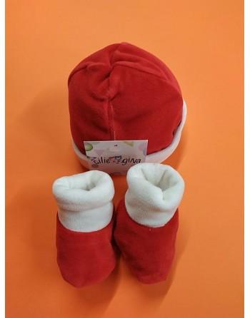 Cappello con babbucce natalizie 0-3 mesi